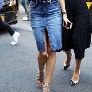 COH Sophia stretch knee length denim jean skirt